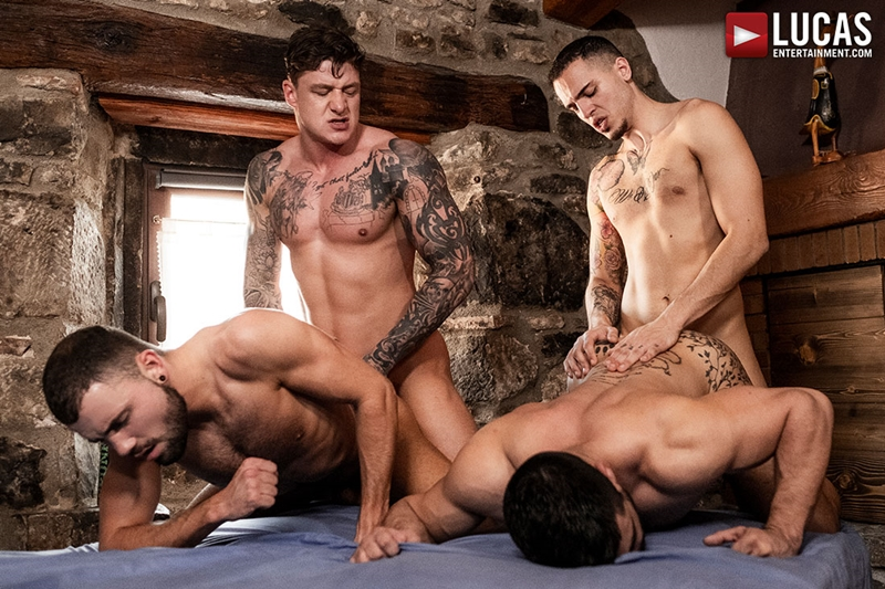 Bottom bitch leo paris enjoys being fucked by two twinks 8