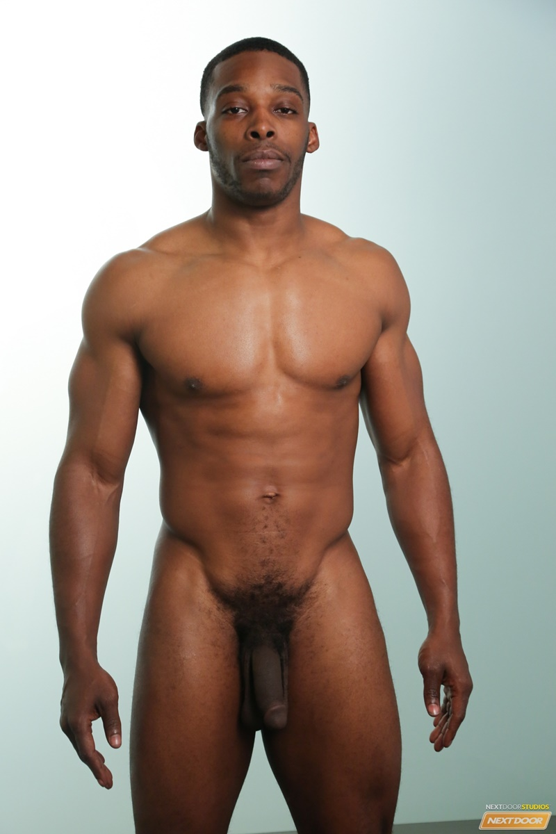 Big Black Muscle Stud Masson Shores Slowly Tugs On His Thick Cock -8974